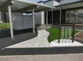 旭川市 外構 カーポート 人工芝生 アプローチ インゴット 石貼り
