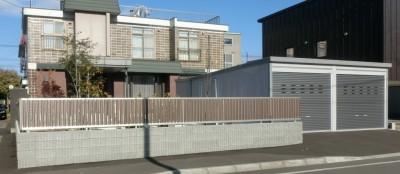 旭川市 外構 車庫 ガレージ 化粧ブロック フェンス