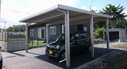 旭川市 外構 カーポト アイアンフェンス 樹脂フェンス 人工芝生