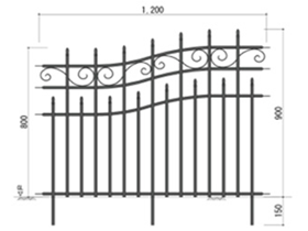 アイアンフェンス曲線 8090